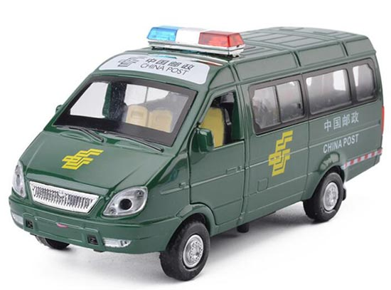 Pull-Back Function Green Kids China Post Die-cast Van Bus Toy