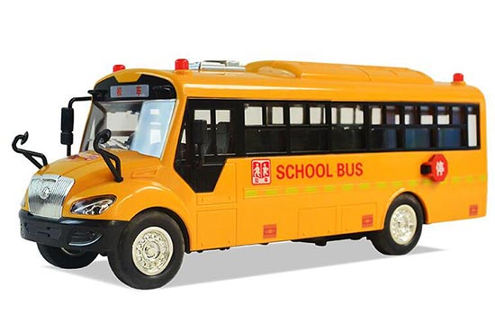 Yellow Kids Sound And Light Plastic School Bus Toy