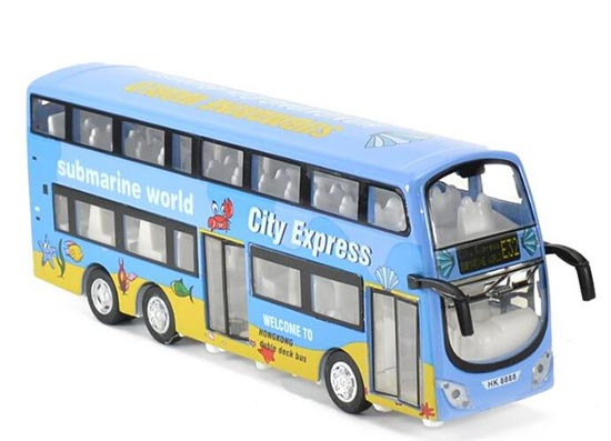Kid Blue Hong Kong Submarine World Diecast Double Decker Bus Toy