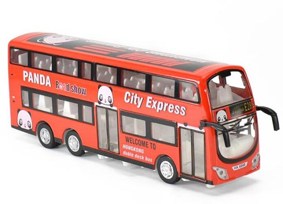 Red Hong Kong Panda Road Show Kid Die-cast Double Decker Bus Toy