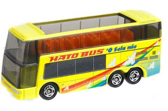 Kids Yellow Tomica 1:156 Die-cast Double Decker HATO Bus Toy