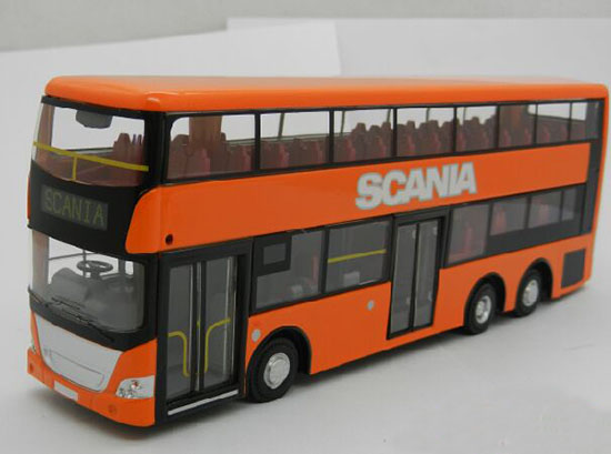 1:64 Purple /Green /Orange Die-Cast Scania Double Decker Bus Toy