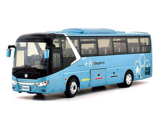1:43 Blue ZhongTong LCK6117HQD1 Die-cast Coach Bus Model