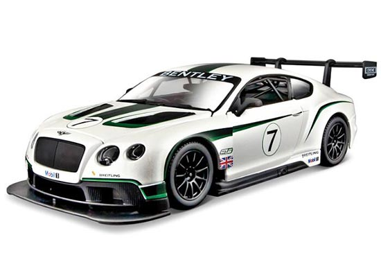 Bburago 1:24 White Diecast Bentley Continental GT3 Model
