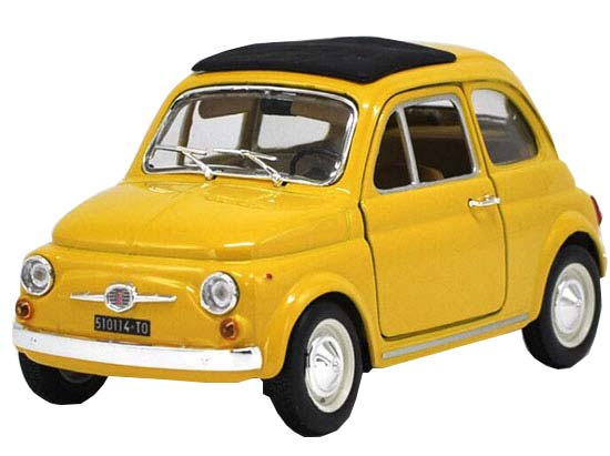 Yellow / Red / Blue 1:24 Scale Bburago Die-cast Fiat 500F Model