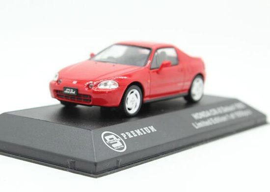 Red 1:43 Scale Diecast 1992 Honda CR-X Delsol Model