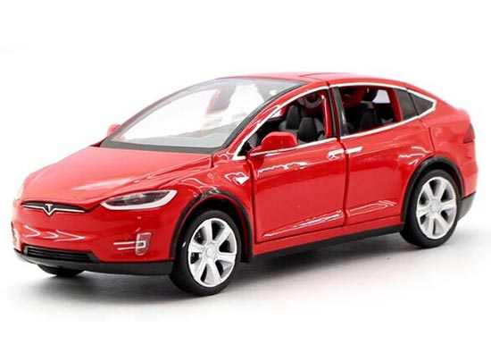 Red / White / Blue Kids 1:32 Scale Diecast Tesla MODEL X90 Toy