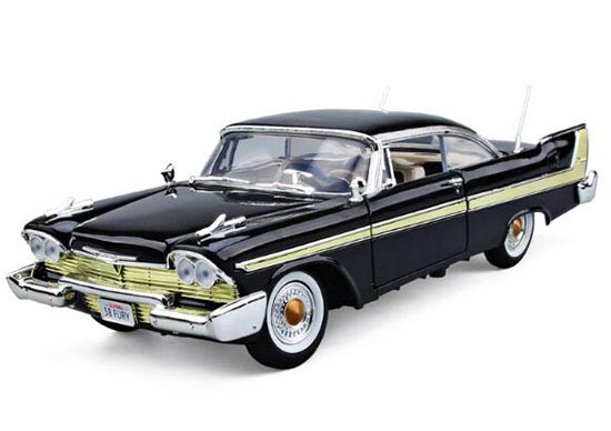 1:18 Black / Blue MotorMax Die-Cast 1958 Plymouth FURY Model