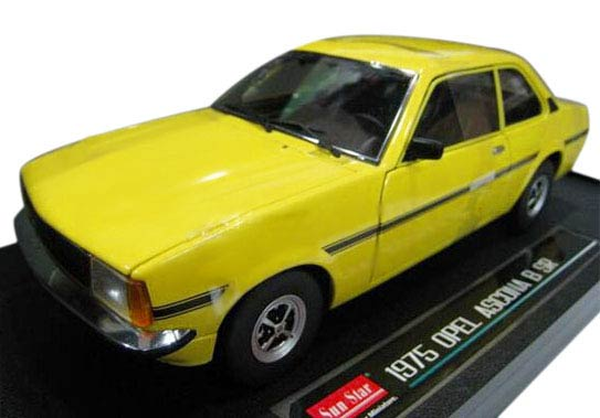 Yellow / Green 1:18 Sunstar Die-Cast 1975 Opel ASCONA B SR Model