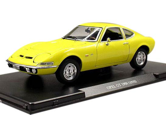 Yellow 1:24 Scale Whitebox Die-Cast 1970 Opel GT 1900 Model