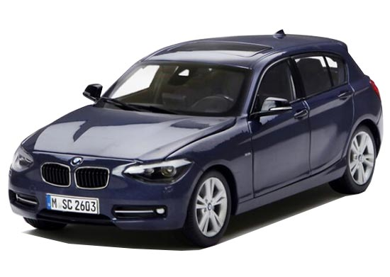 Deep Blue / Brown Paragon 1:18 Scale Diecast BMW 1 Series Model