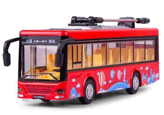 Red / Yellow / Blue Kids Diecast Trolley Bus Toy