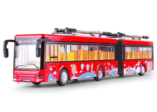 Blue / Red / Yellow Kids Diecast Trolley Articulated Bus Toy