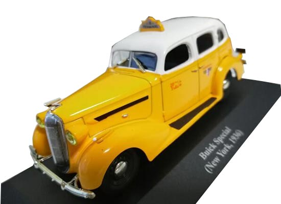 1:43 Yellow 1936 New York Diecast Buick Special Taxi Model