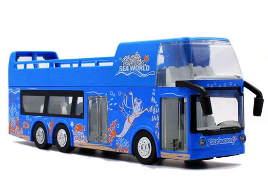 1:32 Scale Blue Kids Diecast Double Decker Sightseeing Bus Toy