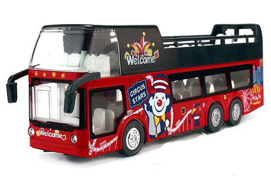 Red 1:32 Scale Kids Diecast Double Decker Sightseeing Bus Toy