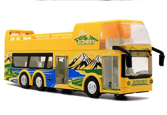Yellow 1:32 Scale Kids Diecast Double Decker Sightseeing Bus Toy