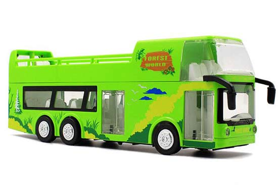 Green 1:32 Scale Kids Diecast Double Decker Sightseeing Bus Toy