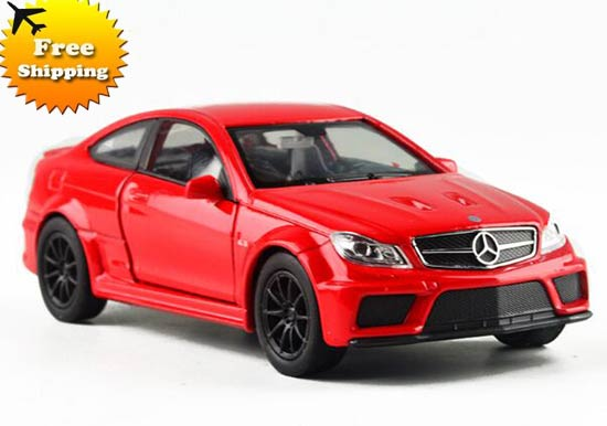 Kids 1:36 Red / White Diecast Mercedes-Benz C63 AMG Coupe Toy