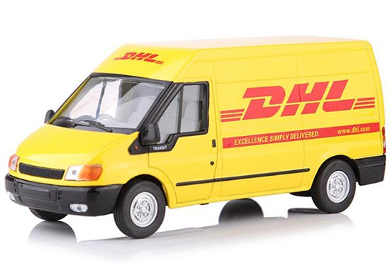 Yellow 1:32 Scale DHL Theme Diecast Ford Transit Van Model