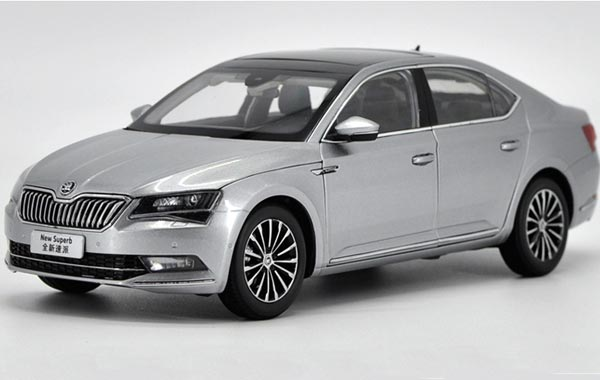 White / Brown / Silver/ Gray Diecast Skoda New Superb Model