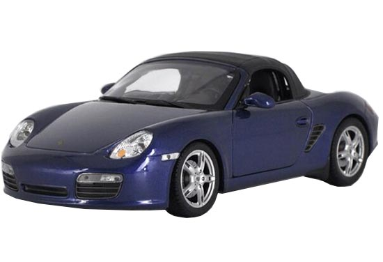 1:18 Scale Black / Blue Welly Diecast Porsche Boxster S Model
