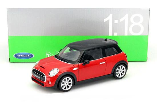 1:18 Scale Red Welly 2015 Diecast Mini Cooper Hatch Model