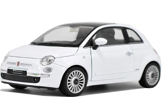 1:24 Scale White Welly Diecast 2007 Fiat 500 Model