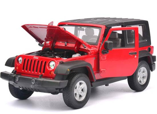Red / White 1:24 Scale Welly 2007 Diecast Jeep Wrangler Model