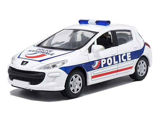 1:43 Scale NOREV White-Blue Police Diecast Peugeot 308 Model