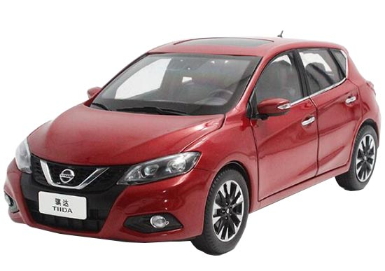 1:18 Scale Wine Red Diecast Nissan Tiida Model