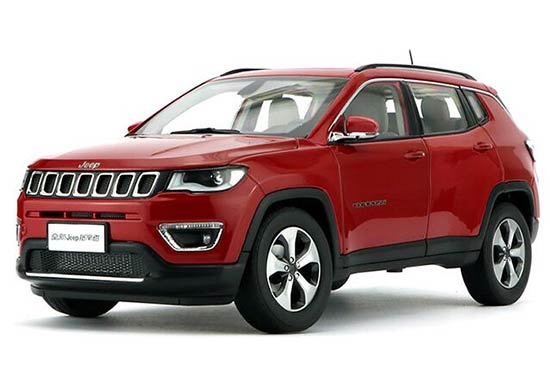 1:18 Scale Red / Silver / White Diecast Jeep Compass Model
