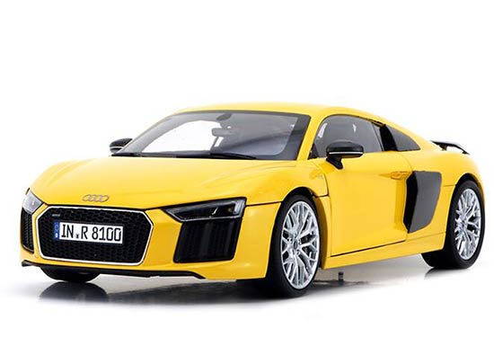 1:18 Scale Yellow / Gray Diecast Audi R8 V10 Plus Model