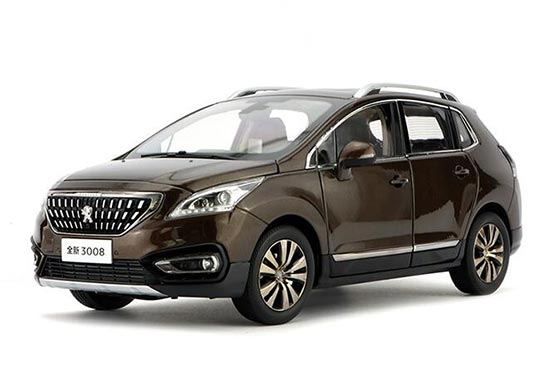 1:18 Scale Brown 2016 Diecast Peugeot 3008 Model
