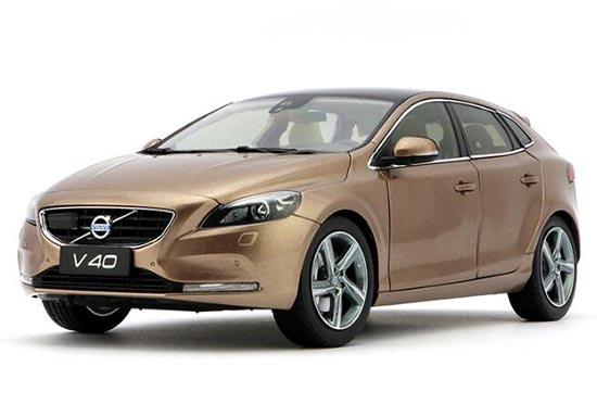 White / Bronze 1:18 Scale Diecast Volvo V40 Model