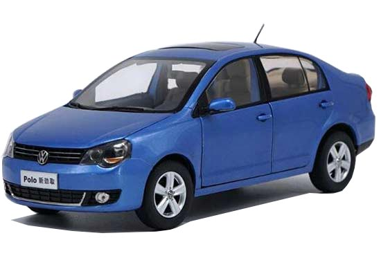 Blue / Gray 1:18 Scale Diecast VW Polo Model