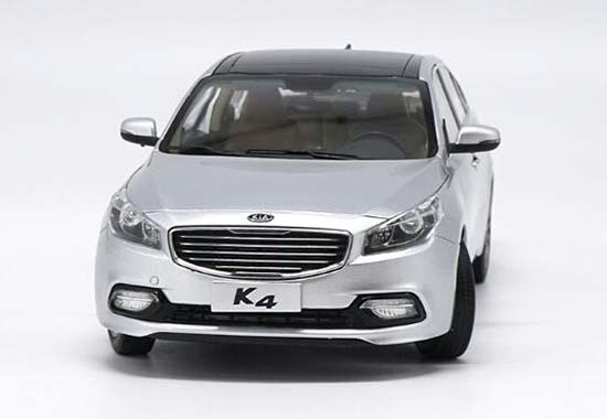 Silver / White 1:18 Scale 2014 Diecast Kia K4 Model