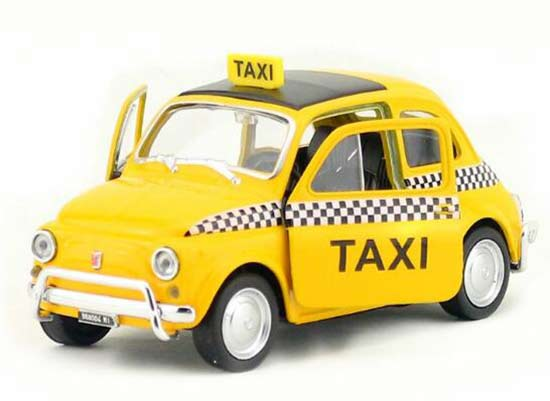 Yellow 1:36 Scale Kids Welly Diecast Fiat Nuova 500 Taxi Toy