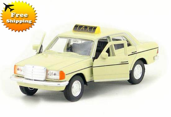 Creamy White 1:36 Scale Kid Diecast Mercedes Benz W123 Taxi Toy