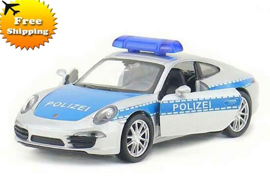 1:36 Kids Blue-Silver Welly Diecast Porsche 911 Carrera Toy