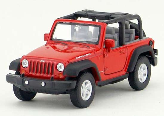 1:36 Scale Kids Welly Red Diecast Jeep Wrangler Rubicon Toy