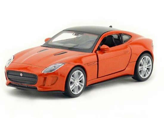 Kids White / Orange 1:36 Welly Diecast Jaguar F-Type Coupe Toy