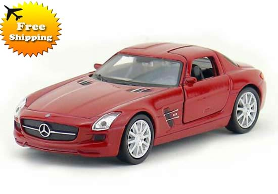 Kids Welly 1:36 White / Red Diecast Mercedes Benz SLS AMG Toy