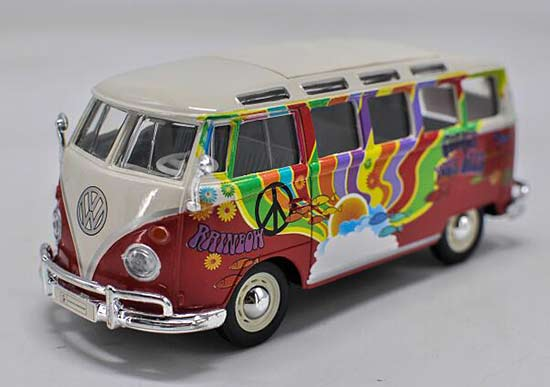 1:24 Scale Red-White Maisto Diecast VW T1 Bus Model