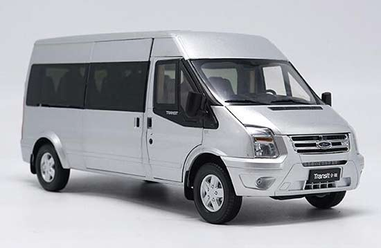 Silver 1:18 Scale Diecast Ford Transit Model