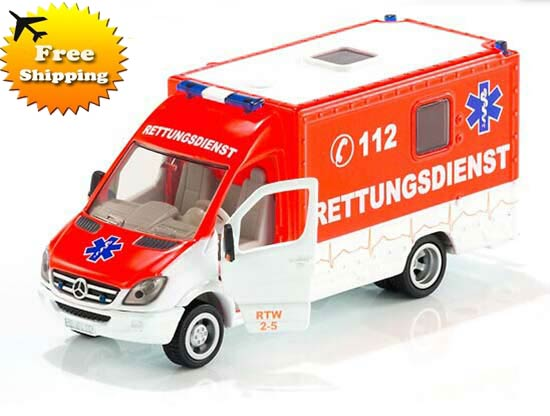 White-Red SIKU 2108 Diecast Mercedes-Benz Ambulance Van Toy