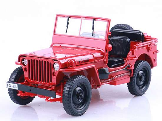 Red 1:18 Scale Diecast Willys Army Truck Model