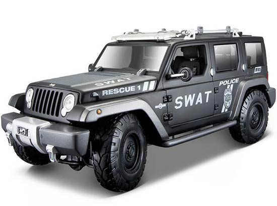 1:18 Scale Black Maisto SWAT Diecast Jeep Rescue Concept Model
