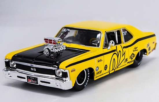 Yellow 1:24 Scale Maisto Diecast Chevrolet Nova SS Coupe Model
