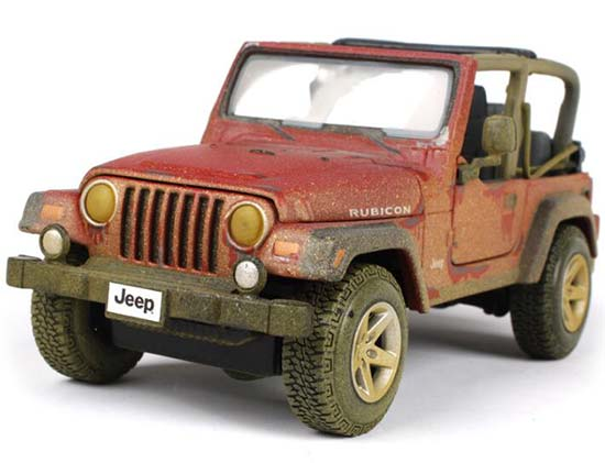 Red Muddy Painting Maisto Diecast Jeep Wrangler Rubicon Model